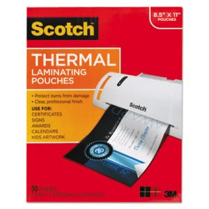 Scotch Thermal Laminating Pouches, 11 1/2 x 9, 50 Pouches (MMMTP385450)