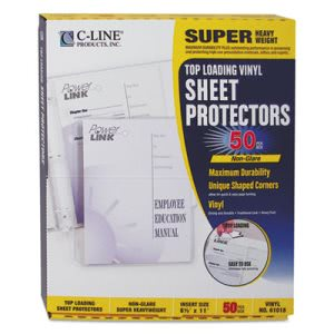 C-line Heavyweight Vinyl Sheet Protector, 11 x 8 1/2, 50 per Box (CLI61018)