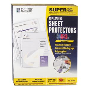 C-line Super Heavyweight Polypropylene Sheet Protector, Non-Glare, 11 x 8 1/2, 50/BX (CLI61008)