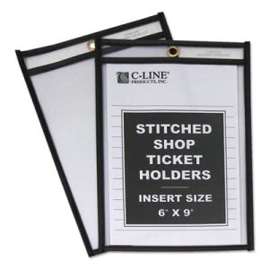 C-line Shop Ticket Holders, Stitched, Both Sides Clear, 6 x 9, 25/BX (CLI46069)