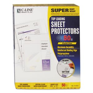 C-Line Super Heavyweight Polypropylene Sheet Protector, 50 Sheets (CLI61003)