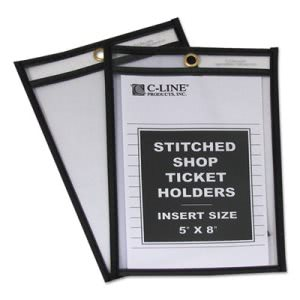 C-line Shop Ticket Holders, Stitched, Both Sides Clear, 5 x 8, 25/BX (CLI46058)