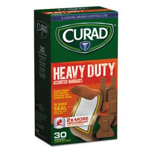 Curad Heavy Duty Bandages, Assorted Sizes, 30/Box (MIICUR14924RB)