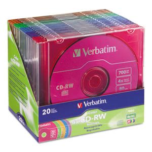 Verbatim CD-RW Discs, 700MB/80min, Assorted Colors, 20/Pack (VER94300)