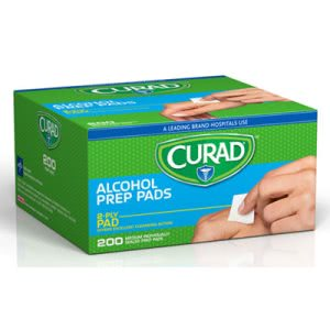 "Curad Alcohol Prep Pads, 2-Ply, 1"" x 1"", White, 200 Pads (MIICUR45581RBI)"