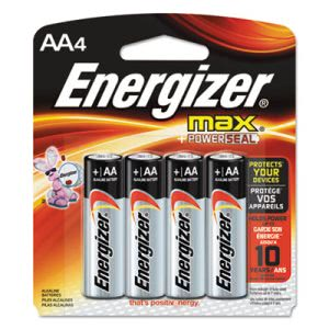 Energizer MAX Alkaline Batteries, AA, 4 Batteries/Pack (EVEE91BP4)