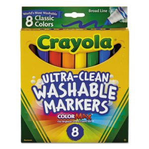 Crayola Washable Markers, Broad Point, Classic Colors, 8/Pack (CYO587808)