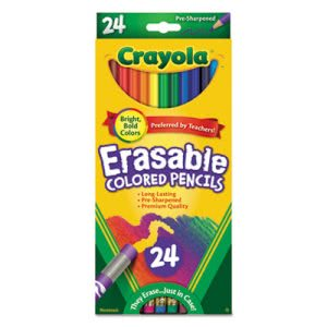 Crayola Erasable Colored Woodcase Pencils, 24 Assorted Colors (CYO682424)