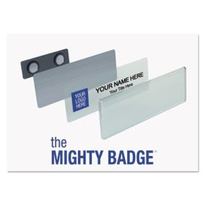 The Mighty Badge Name Badge Kit, Laser Inserts, 1 x 3, Gold, 10/Kit (IPP901708)