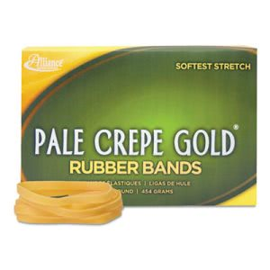 Alliance Pale Crepe Gold Rubber Bands, Size 64, 3-1/2 x 1/4, 1lb Box (ALL20645)