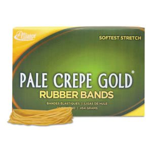 Alliance Pale Crepe Gold Rubber Bands, Size 19, 3-1/2 x 1/16, 1lb Box (ALL20195)