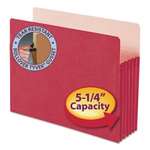 "Smead 5 1/4"" Expanding File Folder, Straight Tab, Letter, Red (SMD73241)"