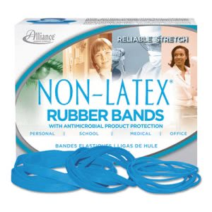 Alliance Latex Free Antimicrobial Rubber Bands, Cyan Blue, 62 Bands (ALL42199)