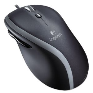 Logitech M500 Corded Mouse, Three-Button/Scroll, Black/Silver (LOG910001204)