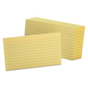 Oxford Ruled Index Cards, 3 x 5, Canary, 100/Pack (OXF7321CAN)