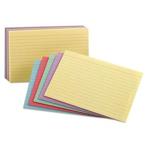 Oxford Ruled Index Cards, 3 x 5, Assorted, 100/Pack (OXF40280)
