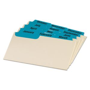 Oxford Laminated Manila Index Card Guides, 1/3 Tab, 3 x 5, 12 Guides (OXF03513)