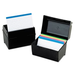 Oxford Index Card Flip Top File Box Holds 300 3 x 5 Cards, Black (OXF01351)
