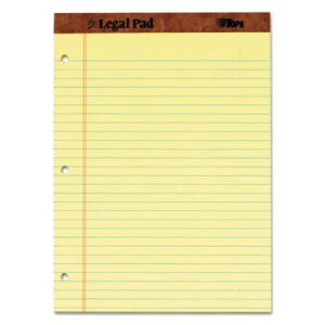 Tops Perforated Legal Pad, Punched, Letter, Canary, 12 Pads per Pack (TOP75351)