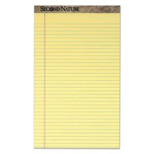 Tops Second Nature Recycled Pad, Margin Rule, Canary, 12 - 50-Sheet (TOP74920)