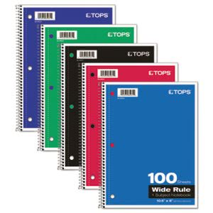 Tops Wirebound 1-Subject Notebook, Wide Rule, 10-1/2 x 8, White, 100 Sheets/Pad (TOP65031)