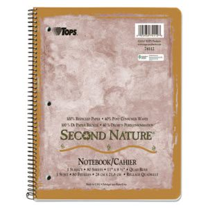 Tops Second Nature Subject Wirebound Notebook, Quadrille Rule, Ltr, WE, 80-Sheet (TOP74112)
