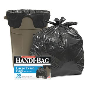 30 Gallon Black Garbage Bags, 30x33, 0.65mil, 60 Bags (WBIHAB6FT60)
