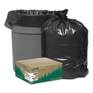 56 Gallon Black Garbage Bags, 43x47, 2mil, 100 Bags (WEB RNW4320)
