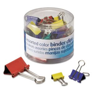 Officemate Binder Clips, Metal, Assorted Colors/Sizes, 30/Pack (OIC31026)