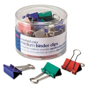 Officemate Binder Clips, Metal, Assorted Colors, Medium, 24/Pack (OIC31029)