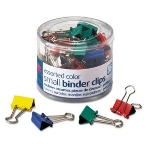 "Officemate Binder Clips, Metal, 3/4"", Assorted Colors, 36/Pack (OIC31028)"