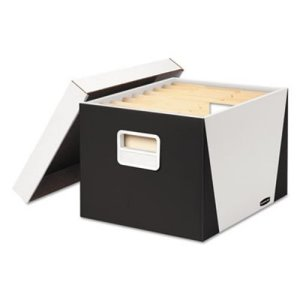 Bankers Box Premier Medium-Duty Storage Boxes, White/Black, 2 Boxes (FEL7648401)