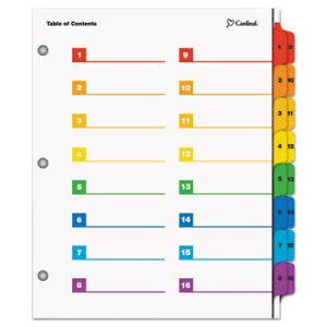 Cardinal Printable Table of Contents/Dividers, 16-Tab, Multicolored (CRD60950)