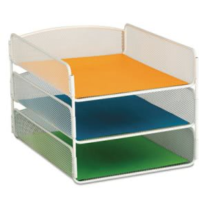 Safco Desk Tray, Three Tiers, Steel Mesh, Letter, White (SAF3271WH)