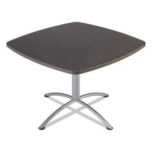 "Iceberg iLand Table, Contour, Square Seated Style, 42"" x 42"" x 29"", Gray Walnut/Silver (ICE69744)"
