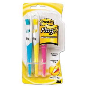 Post-it Flag+ Writing Tools Flag + Highlighter, 150 Flags, 3 Pens (MMM689HL3)