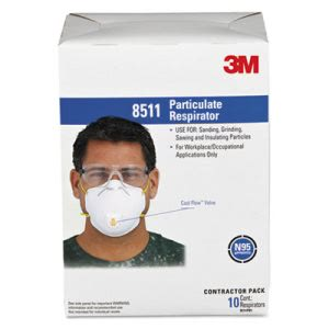 3M Particulate Respirator w/Cool Flow Exhalation Valve, 10 Masks (MMM8511)