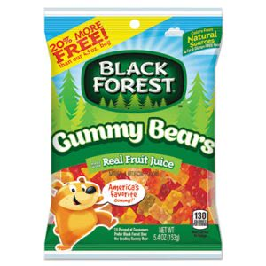 Black Forest Gummy Bears, Assorted, 5.4 oz Bag, 12/Carton (FER75400)