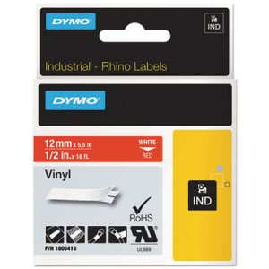 "Dymo Rhino Industrial All-Purpose Vinyl Labels, 1/2"", Red/White (DYM1805416)"