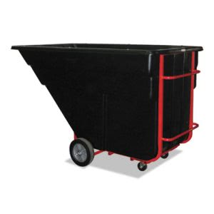Rubbermaid Commercial Rotomolded Tilt Truck, Rectangular, Plastic, 1200-lb Cap., Black (RCP1025BLA)