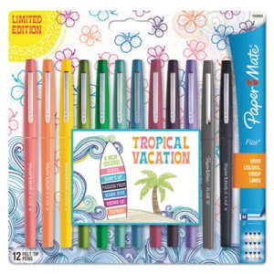 Paper Mate Flair Tropical Vacation Pen, Assorted Colors, 12 Pens (PAP1928605)