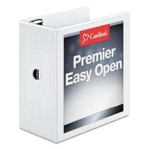"Cardinal Easy Open ClearVue Locking Slant-D Ring Binder, 5"", White (CRD10350)"