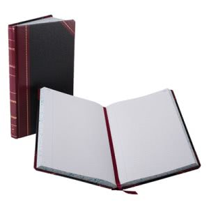 Record/Account Book, Black/Red Cover, 300 Pages, 14 1/8 x 8 5/8 (BOR9300R)