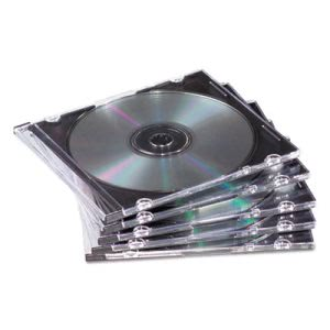 Fellowes Thin Jewel Case, Clear/Black, 50/Pack (FEL98330)