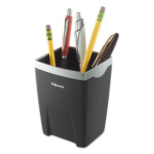 Fellowes Office Suites Divided Pencil Cup, Plastic, Black/Silver (FEL8032301)