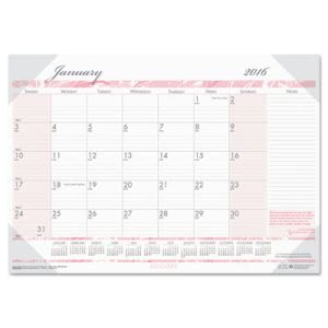 House Of Doolittle Breast Cancer Awareness Monthly Desk Pad Calendar, 22 x 17, 2016 (HOD1467)