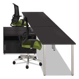 Mayline Series 2-Person Workstation, 120w x 73d x 29-1/2h, Raven (MLNEZPW4AHB)