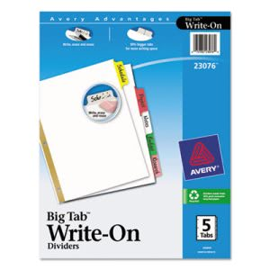 Avery Big Tab Write-On Dividers w/Erasable Laminated Tabs, 5 Dividers (AVE23076)