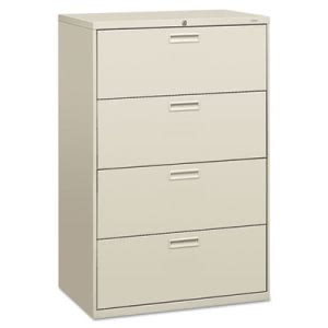 Hon 500 Series Four-Drawer Lateral File, 36w x53-1/4h x19-1/4d, Gray (HON584LQ)