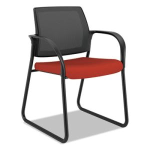 Hon Ignition Series Mesh Back Guest Chair with Sled Base, Poppy Fabric Upholstery (HONIB108CU42)